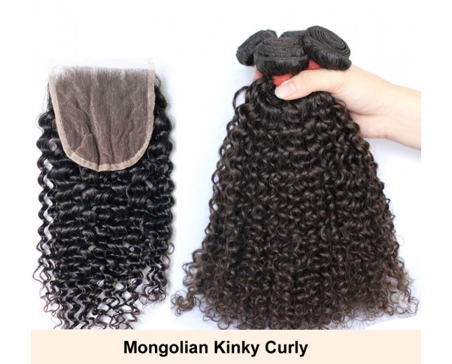 3 Bundles Hair with 1pc Lace Closure Virgin Mongolian Kinky Curly Hair GL001