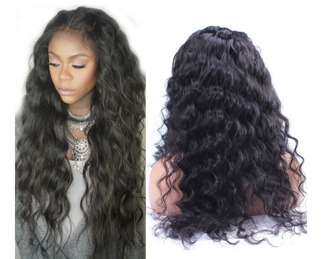 Loose Deep Curl Brazilian Virgin Hair Lace Front Wigs LFW0045