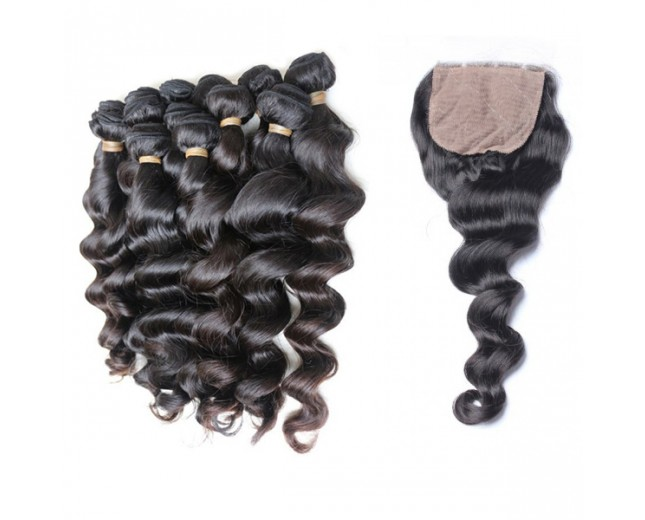 "Brazilian loose wave 18 20 22 bundles with a silk base closure 12"" 6A grade Free shipping DHL - Special link for Cayla"