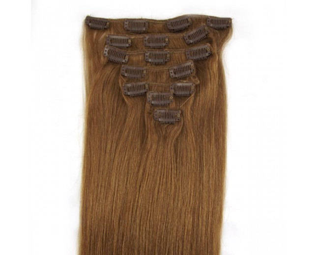 #12 Golden Brown Clip In Hair Extensions Straight CR0016