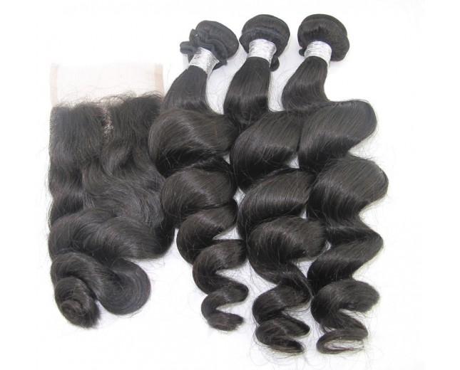 3 Bundles Hair with 1pc Lace Closure Loose Wave Virgin Brazilian Hair BL002