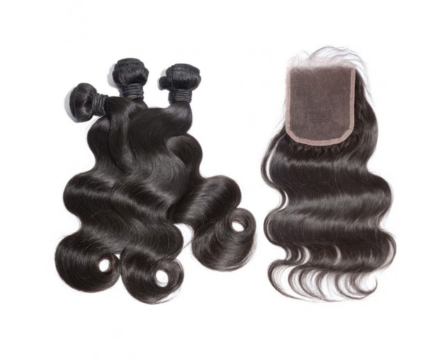 3 Bundles Hair with 1pc Lace Closure Body Wave Virgin Brazilian Hair BL001