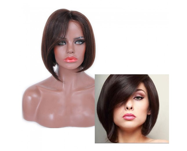 Hot Sale Short Straight 100% Human Hair Lace Front Wigs LFW0075