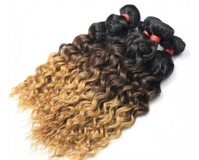Water Wave Brazilian Remy Hair Extensions Ombre Hair 1B/4/27 BR0023