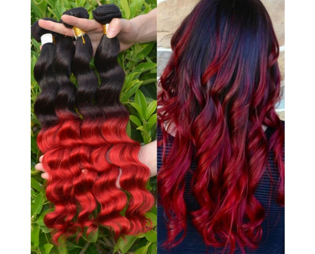 3pcs/lot Brazilian Ombre Loose Wave Remy Hair Two Tone Color 1B/Red BR0046