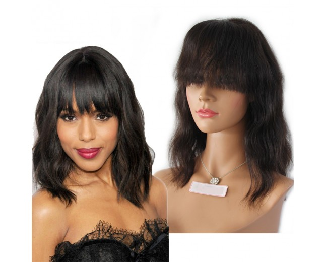 Natural Wave Bob Lace Front Wigs with Bangs 100% Human Hair LFW0050