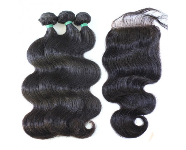 3 Bundles Hair with 1pc Lace Closure Body Wave Virgin Indian Hair IL002