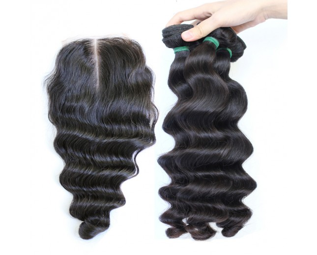 3 Bundles Hair with 1pc Lace Closure Loose Wave Virgin Indian Hair IL003