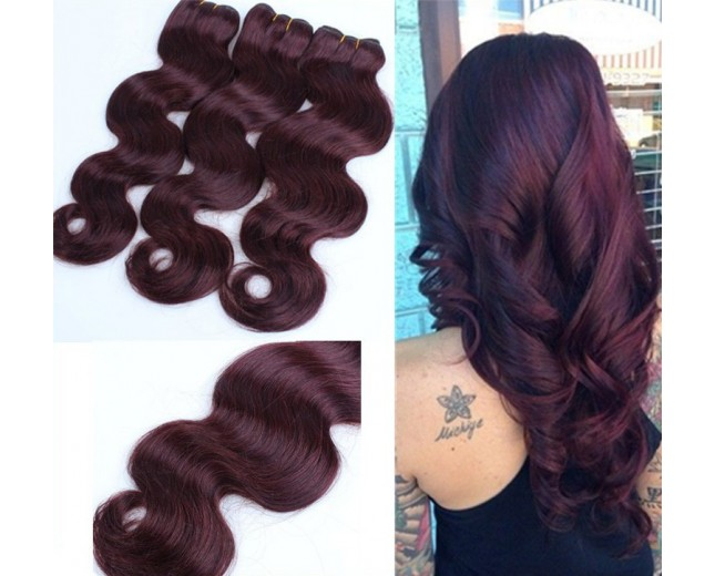 Brazilian Virgin Hair Weave Body Wave 99J# Burgundy BV0045