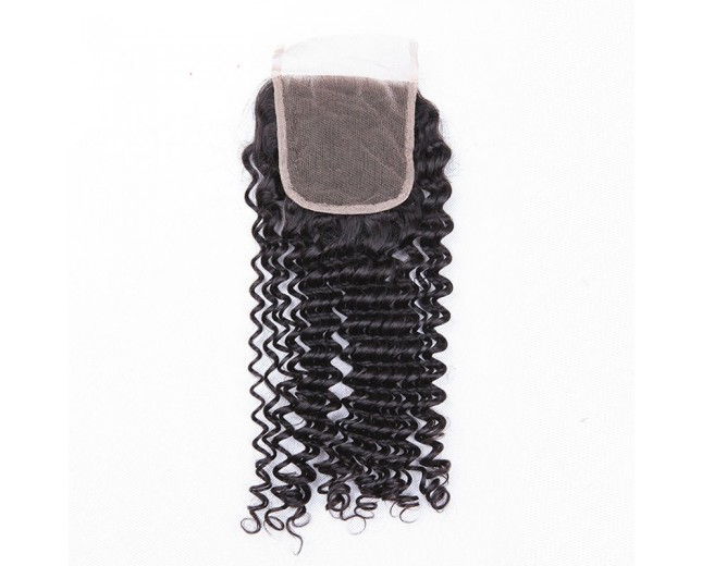 4''*4'' Deep Curly Lace Closure Virgin Brazilian Hair LC0030
