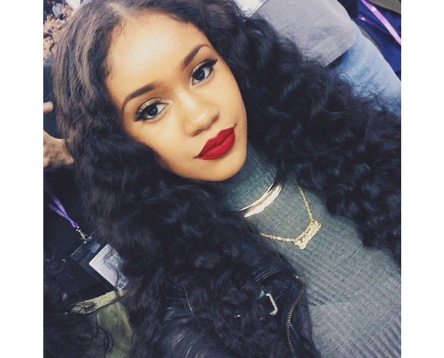 100% Human Hair Deep Wave Lace Front Wigs with Bangs LFW0063