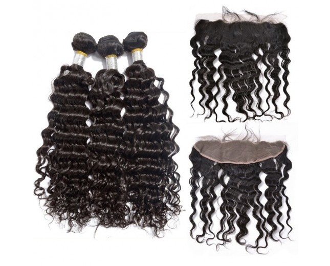 3 Bundles Deep Wave Hair with 1pc 13''*4'' Lace Frontal Virgin Brazilian Hair BF007