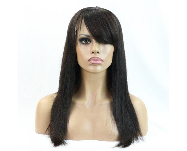 Straight Lace Front Wigs with Side Bang 100% Brazilian Hair LFW0052