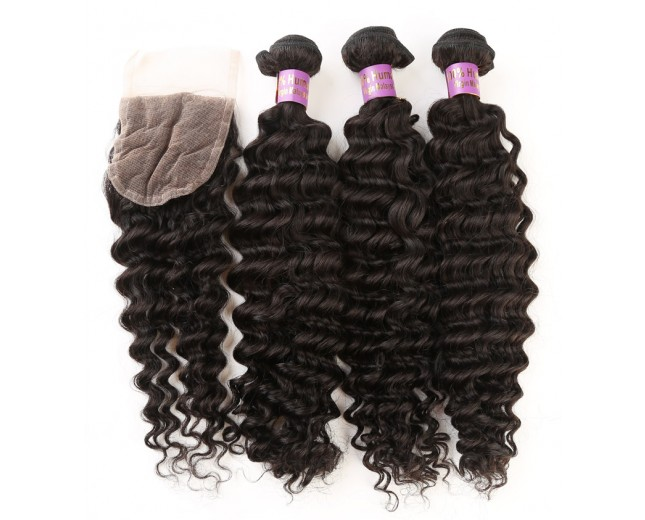3 Bundles Deep Curly Hair with 1pc Lace Closure Virgin Malaysian Hair ML0010