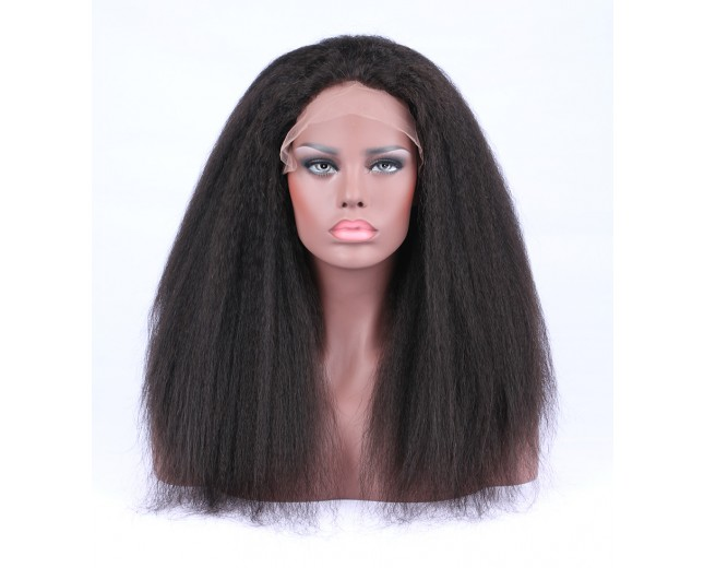 Kinky Straight Glueless Full Lace Wigs Brazilian Virgin Hair FLW0034
