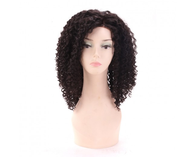 100% Brazilian Hair Kinky Curly Side Parting Lace Front Wig LFW0032