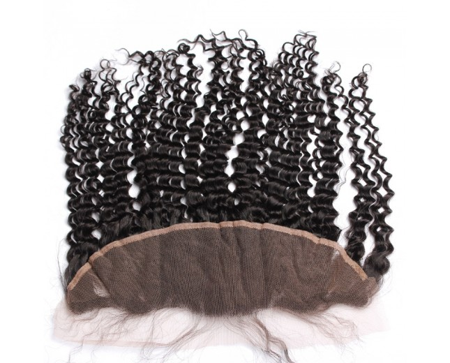 13''*4'' Curly Lace Frontal Brazilian Virgin Hair LC0049