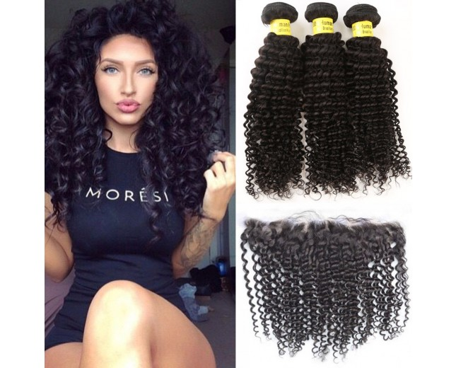 3 Bundles Kinky Curly Hair with 1pc 13''*4'' Lace Frontal Virgin Brazilian Hair BF005