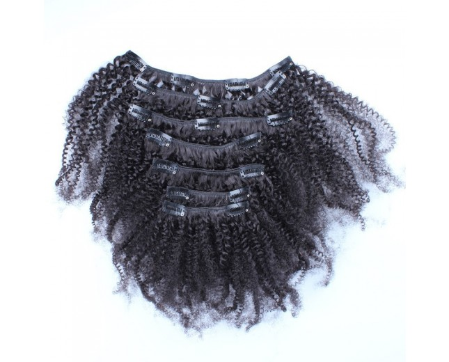 120G Brazilian Afro Curly Clip in Human Hair Extensions CR0025