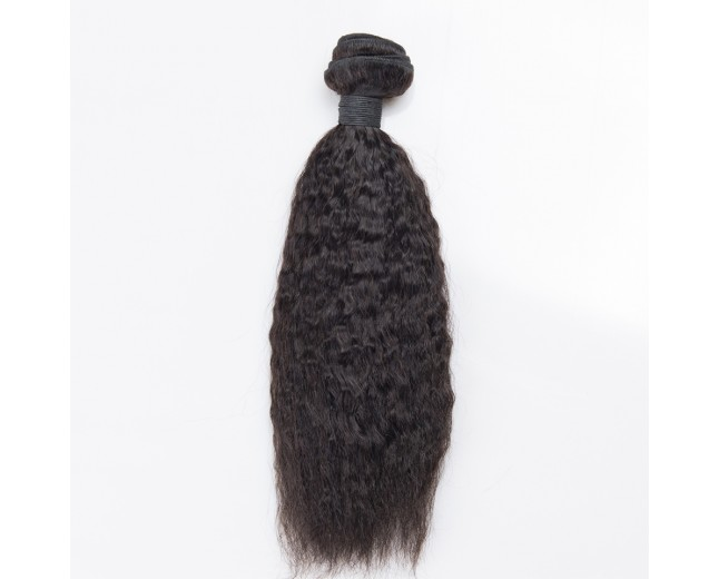 Kinky Straight 100% Cuticle Intact Brazilian Virgin Remy Hair Weave BRC009