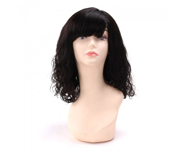 Loose Curl with Bangs Brazilian Virgin Hair Lace Front Wigs LFW0046