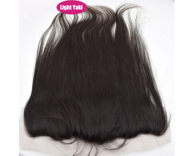 13''*4'' Light Yaki Lace Frontal Brazilian Virgin Hair LC0052