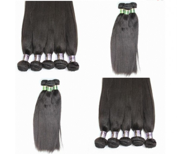 3 Bundles 12 inch Peruvian Light Yaki Hair with 1pcs 12inch Light Yaki Lace Closure 4*4