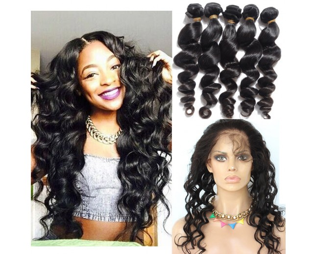360 Lace Frontal with Bundles Brazilian Loose Wave Virgin Hair BF0012