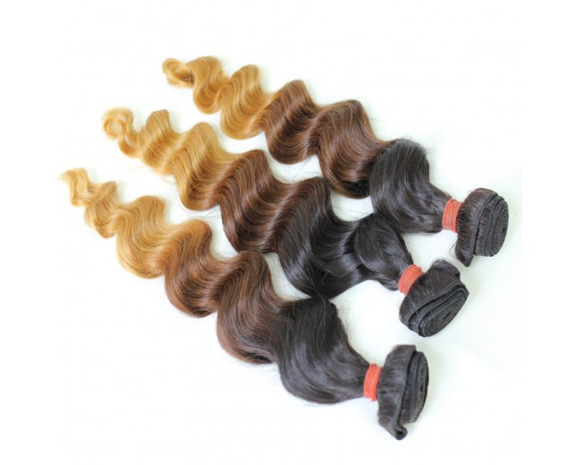 Loose Wave Brazilian Remy Hair Extensions Ombre Hair 1B/4/27 BR0024
