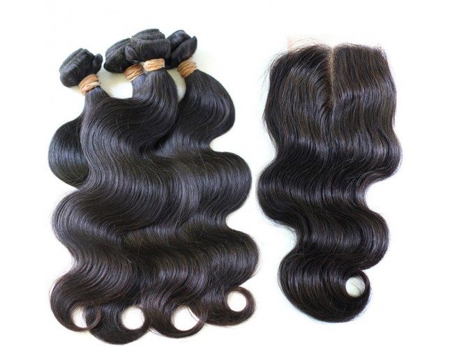 3 Bundles Body Wave Hair with 1pc Middle Part Lace Closure Virgin Malaysian Hair ML003
