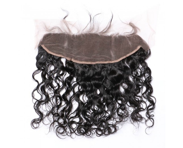 "Peruvian Natural Curly Lace Frontal 13""*4"" Ear to Ear Full Frontal Lace Closure LC0056"
