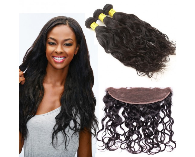 3 Bundles Water Wave Hair with 1pc 13''*4'' Lace Frontal Virgin Brazilian Hair BF006