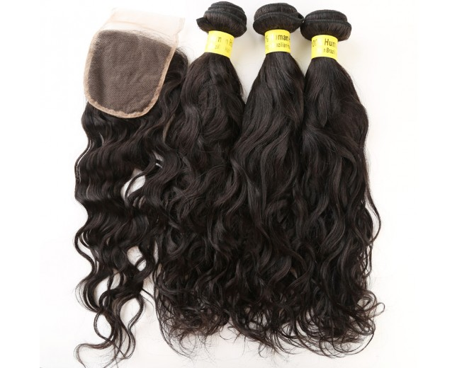 3 Bundles Water Wave Hair with 1pc Lace Closure Virgin Brazilian Hair BL0015