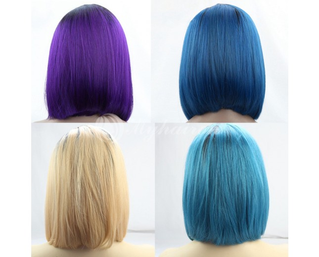 Brazilian Remy Ombre Straight Bob Lace Front Human Hair Wigs LFW0080