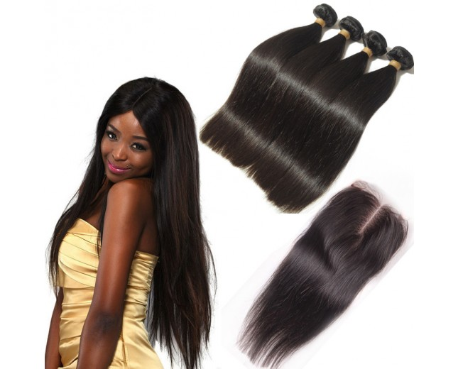 3 Bundles Straight Hair with 1pc Lace Closure Middle Part Virgin Peruvian Hair PL005