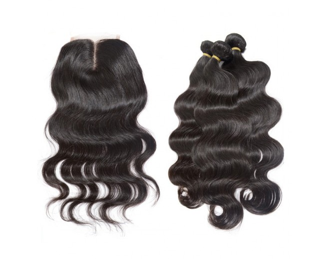 3 Bundles Body Wave Hair with 1pc Lace Closure Middle Part Virgin Peruvian Hair PL002