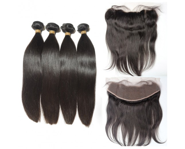 3 Bundles Peruvian Straight Virgin Hair with 1pc 13''*4'' Lace Frontal PF001