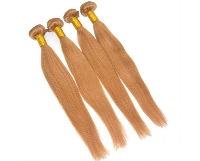 Honey Blonde 27# Brazilian Straight Virgin Hair Extensions BV0039