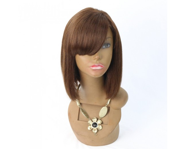 Brazilian Human Hair Silky Straight with Bangs Lace Front Wigs LFW0062