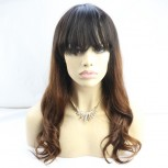 Ombre Natural Wave Full Lace Wig with Bangs 100% Human Hair FLW0061