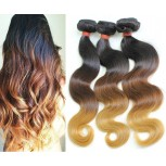 3pcs/lot Brazilian Body Wave Ombre Remy Hair Extensions Three Tone 1B/4/27# BR0064