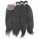 3 Bundles Kinky Straight Hair with 1pc Lace Closure Virgin Brazilian Hair BL008