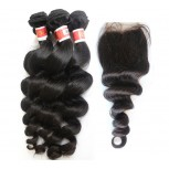 3 Bundles Loose Wave Hair with 1pc Lace Closure Virgin Peruvian Hair PL007