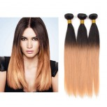 3pcs/lot Brazilian Ombre Straight Remy Hair Two Tone Color 1B/27# BR0042
