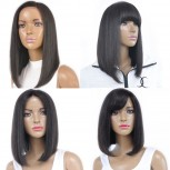 New Bob Cut Straight with Bangs Lace Front Human Hair Wigs LFW0071