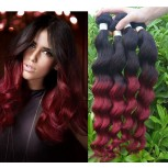 Brazilian Remy Hair Loose Wave Ombre Burgundy Virgin Hair Weave BR0047