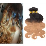 3pcs/lot Brazilian Ombre Body Wave Remy Hair Two Tone Color 1B/27# BR0043