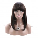 16inch Straight Full Lace Wig with Thick Bangs 100% Human Hair FLW0042