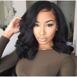 Full Lace Bob Loose Wave with Bangs 100% Human Hair Wigs FLW0052
