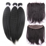3 Bundles Kinky Straight Hair with 1pc 13''*4'' Lace Frontal Virgin Brazilian Hair BF009